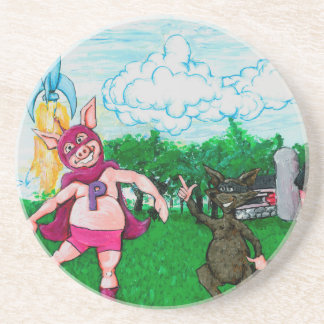 Pig and Raccoon and a Rocket Drink Coasters