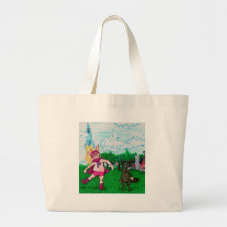 Pig and Raccoon and a Rocket Large Tote Bag