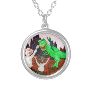 Pig and Raccoon have a Bad Day Silver Plated Necklace