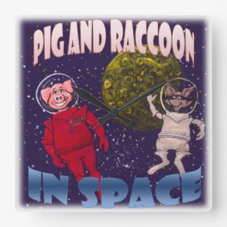 Pig and Raccoon in Space Wallclock