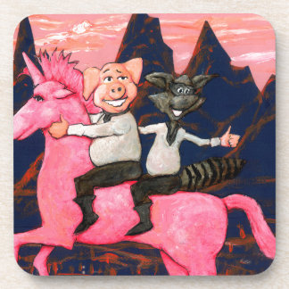 Pig and Raccoon on a Pink Un icorn Drink Coaster