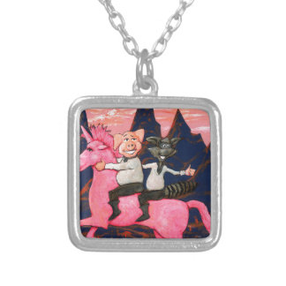 Pig and Raccoon on a Pink Un icorn Silver Plated Necklace