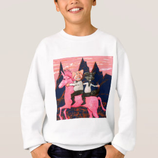 Pig and Raccoon on a Pink Un icorn Sweatshirt