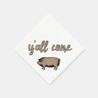 Pig and Ribs Barbed Wire and Burlap Disposable Napkin