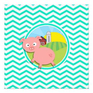 Pig Aqua Green Chevron Announcement
