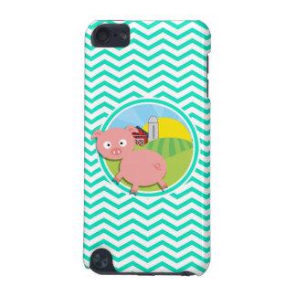 Pig Aqua Green Chevron iPod Touch (5th Generation) Cover