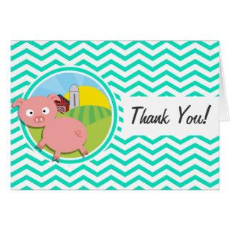 Pig Aqua Green Chevron Greeting Cards