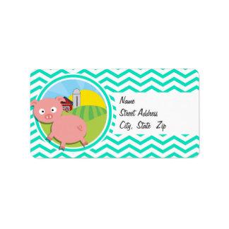 Pig Aqua Green Chevron Labels
