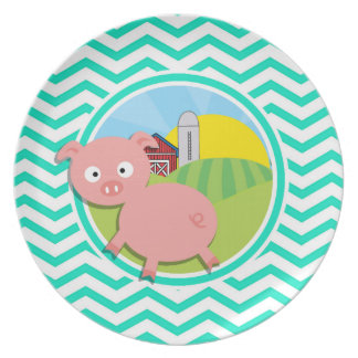 Pig Aqua Green Chevron Dinner Plates