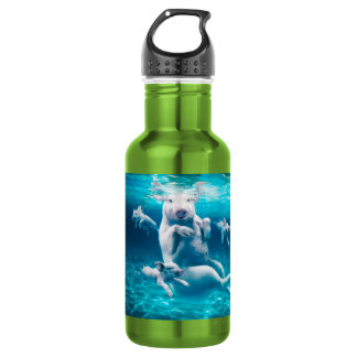 Pig beach - swimming pigs - funny pig 532 ml water bottle