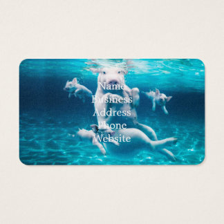 Pig beach - swimming pigs - funny pig business card