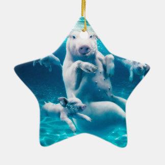 Pig beach - swimming pigs - funny pig ceramic ornament