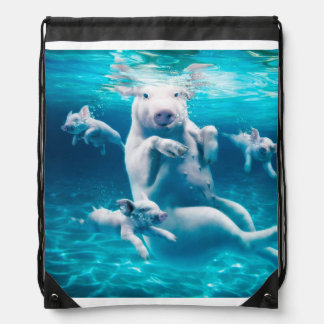 Pig beach - swimming pigs - funny pig drawstring bag