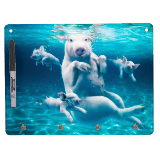 Pig beach - swimming pigs - funny pig dry erase board with keychain holder