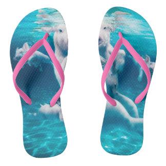 Pig beach - swimming pigs - funny pig flip flops