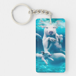 Pig beach - swimming pigs - funny pig keychain