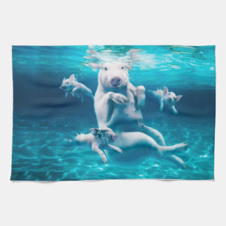 Pig beach - swimming pigs - funny pig kitchen towel