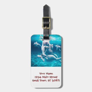 Pig beach - swimming pigs - funny pig luggage tag