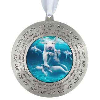 Pig beach - swimming pigs - funny pig pewter ornament