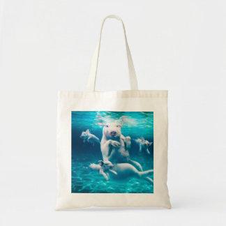 Pig beach - swimming pigs - funny pig tote bag