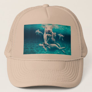 Pig beach - swimming pigs - funny pig trucker hat