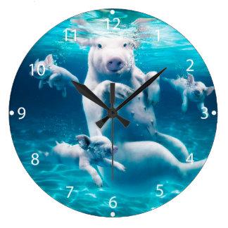 Pig beach - swimming pigs - funny pig wall clock