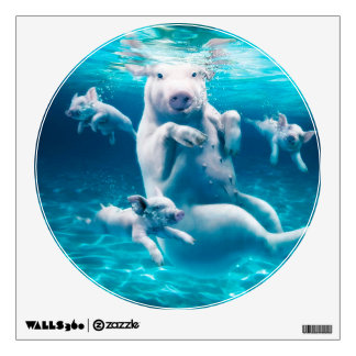 Pig beach - swimming pigs - funny pig wall sticker