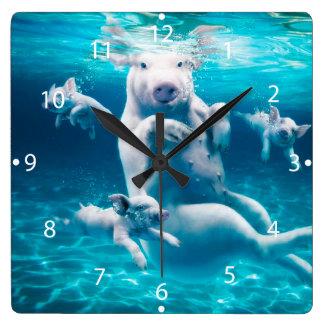 Pig beach - swimming pigs - funny pig wallclocks