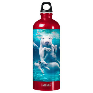 Pig beach - swimming pigs - funny pig water bottle