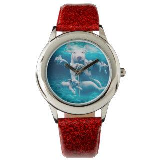 Pig beach - swimming pigs - funny pig wrist watch
