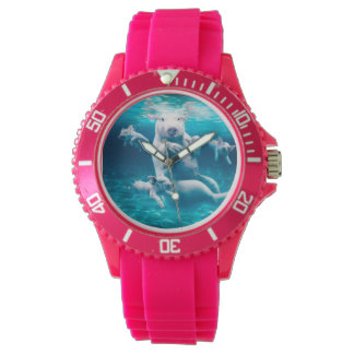 Pig beach - swimming pigs - funny pig wrist watches