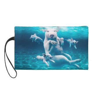 Pig beach - swimming pigs - funny pig wristlet