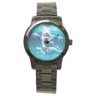 Pig beach - swimming pigs - funny pig wristwatch