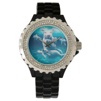 Pig beach - swimming pigs - funny pig wristwatches