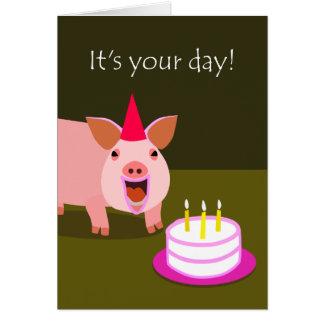 Pig Birthday Card