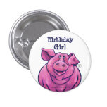 Pig Birthday Girl Party Center Pin
