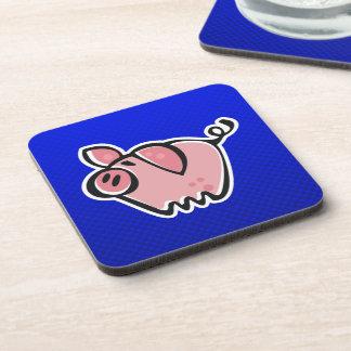 Pig; Blue Drink Coasters