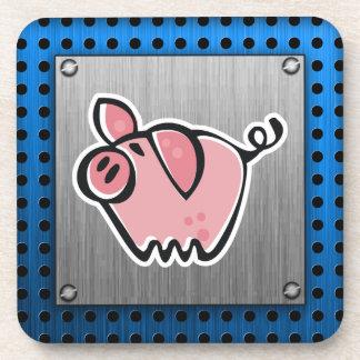 Pig; Brushed metal look Drink Coasters