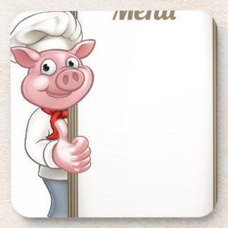 Pig Cartoon Character Chef Menu Coaster