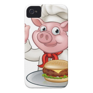 Pig Chef Holding Burger iPhone 4 Cover