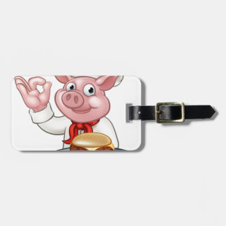 Pig Chef Holding Burger Luggage Tag