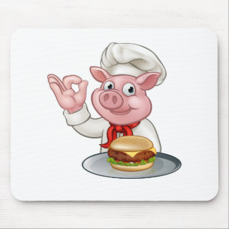 Pig Chef Holding Burger Mouse Pad