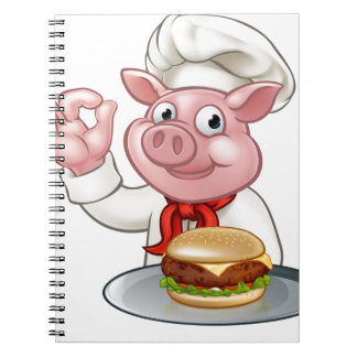 Pig Chef Holding Burger Notebook