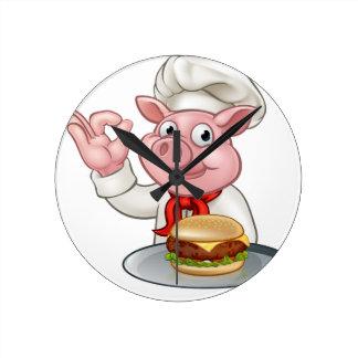 Pig Chef Holding Burger Round Clock