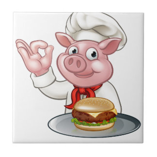 Pig Chef Holding Burger Tile