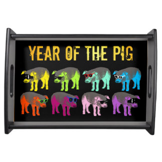 Pig Chinese New Year Zodiac Birthday Serving Tray