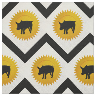 Pig Chinese Zodiac | White, Gold and Black Fabric