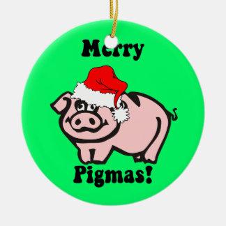 pig Christmas Ceramic Ornament