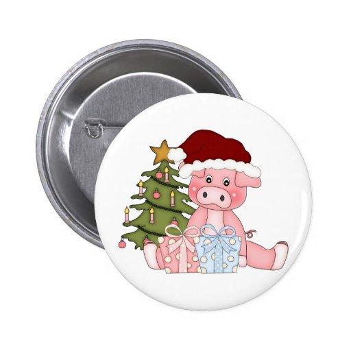 Pig & Christmas Tree Button