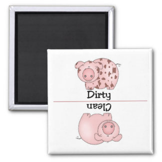 Pig Clean Dirty Dishwasher Magnet Square